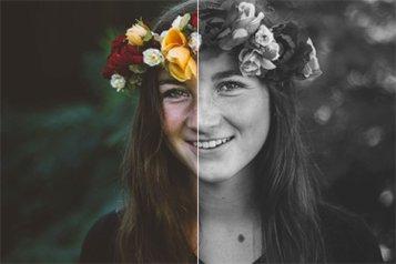Une femme avec un serre-tête en fleur se fait photographier par une borne à filtre photo